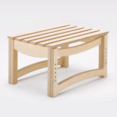 adjustable height slatted stool